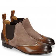 Bottines Sally 19 Mid Brown Tan Nappa Aztek Bronze Oily Suede Chestnut