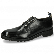 Derbies Eddy 54 Black Eyelets White Strap