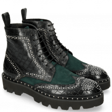Bottines Sally 120 Crock Petrol Chelina Suede Rivets