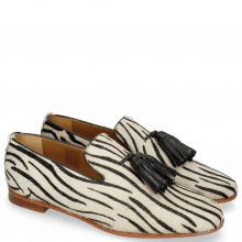Mocassins Scarlett 20 Hairon Young Zebra Black Tassel