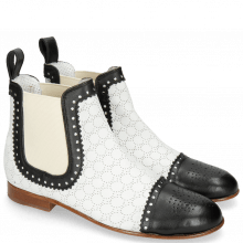 Bottines Sally 128 Nappa Glove Black Perfo White