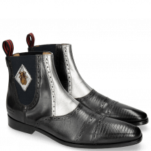 Bottines Elvis 55 Guana Black Nappa Aztek Silver
