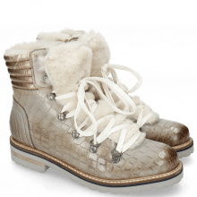 Bottines Bonnie 10 Crock Morning Grey Full Fur Beige Off White