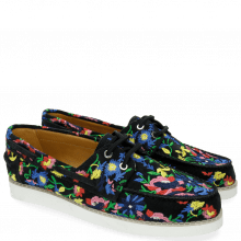 Mocassins Ally 1 Navy Embrodery Flower