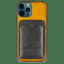 Coque iPhone Twelve Pro Vegas Yellow Wallet Black