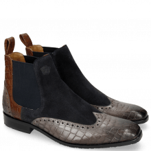 Bottines Rico 12 Venice Crock Stone Suede Pattini Perfo Navy Mid Brown