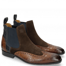 Bottines Rico 12 Venice Crock Mid Brown Suede Pattini Dark Brown Venice Crock Navy
