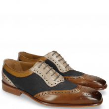 Derbies Clark 16  Nougat Nubuck Perfo Navy Digital