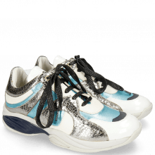 Sneakers Flo 4 Soft Patent White Suede Deep Navy Idra Turquoise Cromia