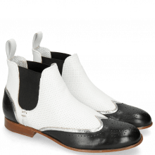 Bottines Sally 19 Nappa Glove Black Cromia Nickel Nappa Perfo White