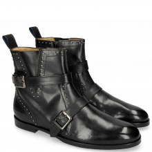 Bottines Susan 54 Black Nappa Black Straps Rivets