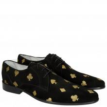 Derbies Toni 1 Suede Black Embroidery Heartpeak