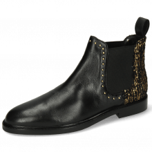 Bottines Susan 37 Nappa Black Textile Tweed Gold Rivets