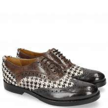 Richelieu Amelie 10 London Fog Hairon Tweed Black White Turtle Stone