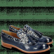 Mocassins Amelie 60 Marine Textile Zardosi Blue