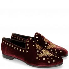 Mocassins Scarlett 38 Velluto Wine Embroidery
