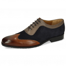 Richelieu Rico 8 Rio Mid Brown Suede Pattini Perfo Navy Stone
