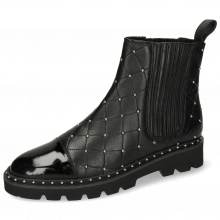 Bottines Susan 46 Patent French Nappa Black Rivets