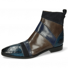 Bottines Elvis 26 Crock Mid Blue Suede Pattini Navy Wind Grigio