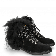 Bottines Amelie 79 Suede Pattini Black Collar Fur Mongolian