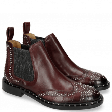 Bottines Sally 45 Big Croco Burgundy Rivets