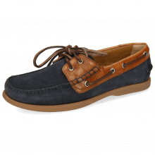 Chaussures bateau Jason 1 Suede Pattini Navy Venice Turtle Wood