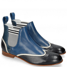 Bottines Sally 19 Vegas Navy White Perfo Mid Blue