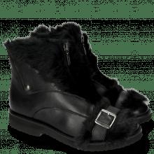 Bottines Greta 4 Nappa Black Fur Long Black