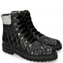 Bottines Bonnie 17 Nappa Black Talca Silver Rivets