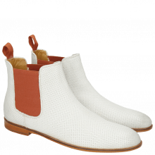 Bottines Susan 10 Powder Burnish Perfo White Elastic Orange LS