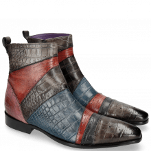 Bottines Elvis 26 Big Croco Stone Fuxia Guana Red Navy