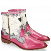 Bottines Marlin 12 Vegas Dark Pink Snake Multi Perfo White