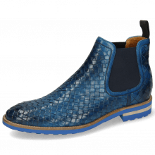 Bottines Brad 6 Woven Venice Mid Blue Elastic Navy
