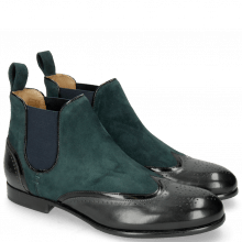 Bottines Sally 19 Patent Black Suede Chilena Perfo Petrol