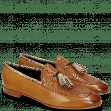 Mocassins Scarlett 44 Nappa Glove Camel Weave Tan Snake