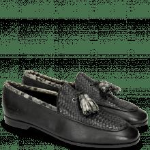 Mocassins Scarlett 44 Nappa Glove Black Weave Black Snake