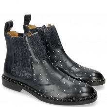Bottines Sally 111 Navy Rivets Elastic Glitter Navy