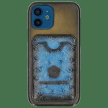 Coque iPhone Twelve Vegas Olive Wallet Mid Blue