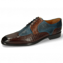 Derbies Elyas 2 Baby Croco Mid Brown Haina Blue