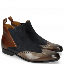 Bottines Rico 13 Rio Stone Mid Brown Suede Pattini Perfo Navy