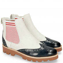 Bottines Selina 29 Navy Nappa Perfo White Elastic Oxford