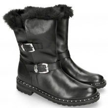 Bottines Bonnie 21 Nappa Black Sword Buckle Collar Fur