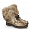 Bottines Bonnie 18 Afix Gold Wine Nappa Aztek Fur Bunny Brown