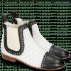 Bottines Sally 128 Nappa Glove Black Perfo White