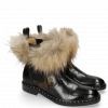 Bottines Sally 114 Turtle Black Python Brown Elastic Black Collar Lionel Fur