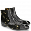 Bottines Ricky 11 Big Croco Patent Suede London Fog Black Embrodery Gold Scorpion