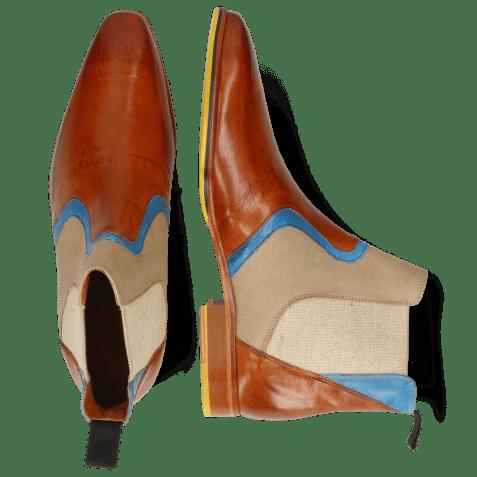 Bottines Lewis 26 Imola Tan Mid Blue Textile Indonesia Camel