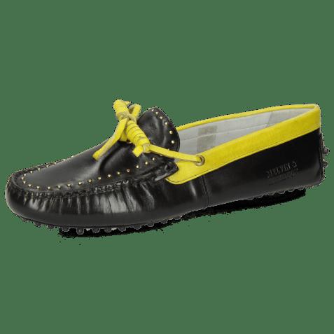 Mocassins Caroline 8 Black Fluo Yellow