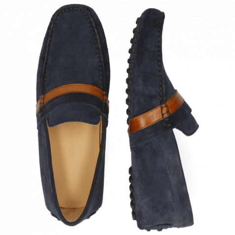 Mocassins Nelson 6 Suede Pattini Navy Wood