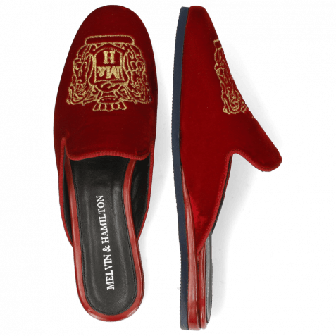 Mules Scarlett 39 Velluto Ruby Embroidery Crown